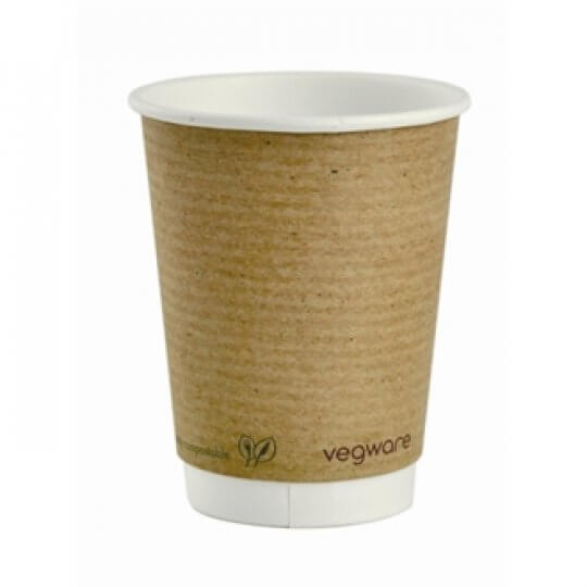 Vegware Double Wall Compostable Brown PLA Hot Cups - 12oz