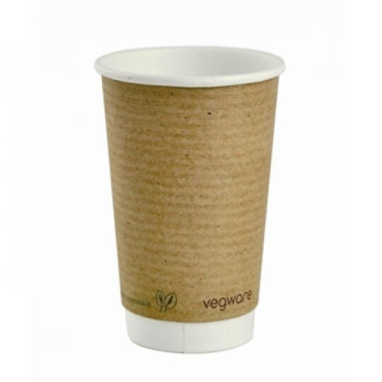 Vegware Double Wall Compostable Brown PLA Hot Cups - 16oz