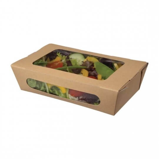 Colpac Recyclable Kraft Tuck Top Salad Packs with Window - 1000ml