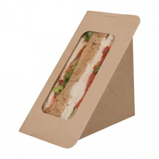 Colpac Recyclable Self Seal Kraft Sandwich Wedges with PLA Window