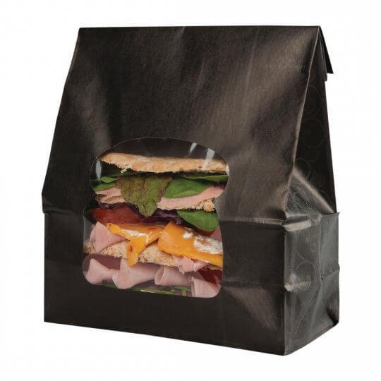 Colpac Recyclable Black Kraft Sandwich Bags with Window
