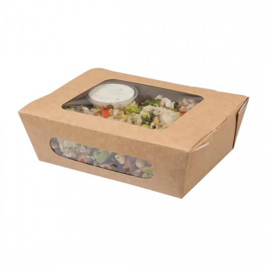 Colpac Compostable Kraft Tuck Top Salad Packs with Acetate Window - 825ml