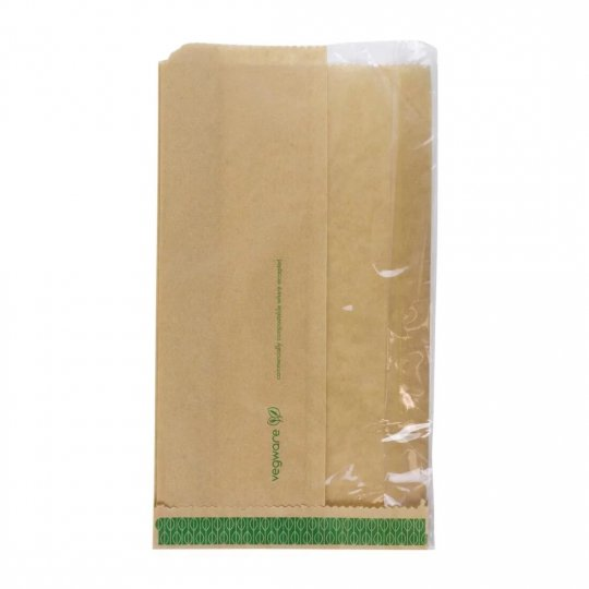 Vegware Compostable Kraft Greaseproof Food Bags With PLA Window