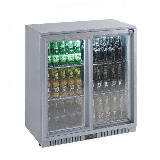 Lec BC9027GLED Sliding Double Door Bottle Cooler | Eco Catering Equipment