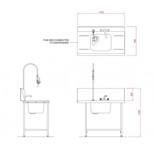 Hobart Inlet Double Rack Table & Sink