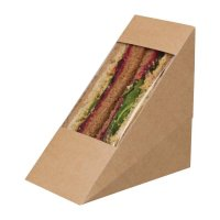 Colpac Compostable Kraft Sandwich Wedges with Acetate Window