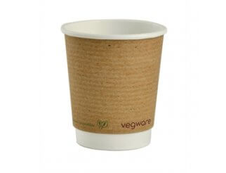 Vegware Double Wall Compostable Brown PLA Hot Cups - 8oz
