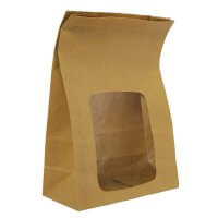 Vegware Fully Lined Compostable Kraft Sandwich Bags with NatureFlex Window