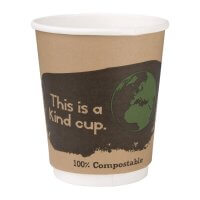 Fiesta Green Double Wall Compostable Brown PLA Hot Cups - 8oz