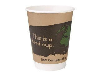 Fiesta Green Double Wall Compostable Brown PLA Hot Cups - 12oz